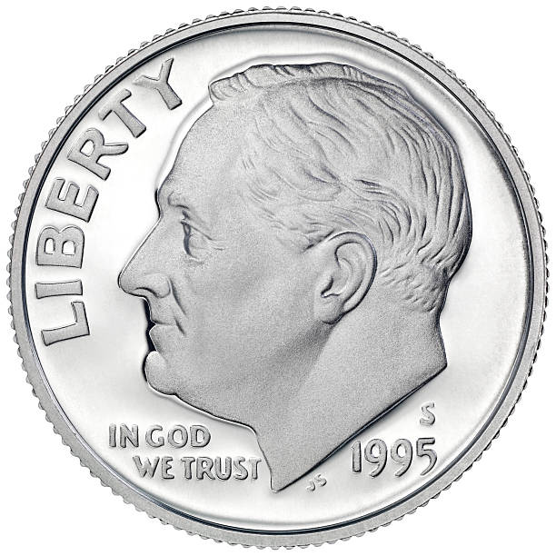 Obverse of the 1995 Roosevelt Silver Dime High resolution and very sharp image, Include clipping path dime stock pictures, royalty-free photos & images