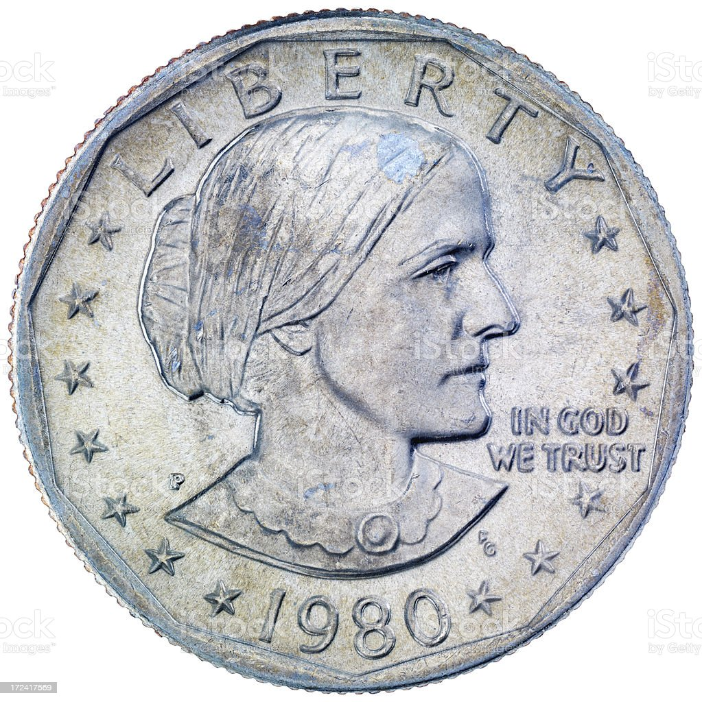 Obverse of the Susan B. Anthony dollar royalty-free stock photo
