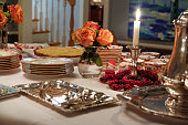 Occasions - Christmas Table Setting with Dessert and Silver Coffee Service