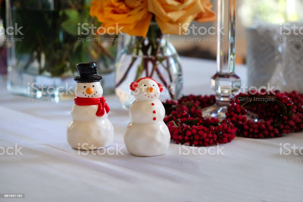 Occasions - Decorated Table for the Winter Holiday stock photo