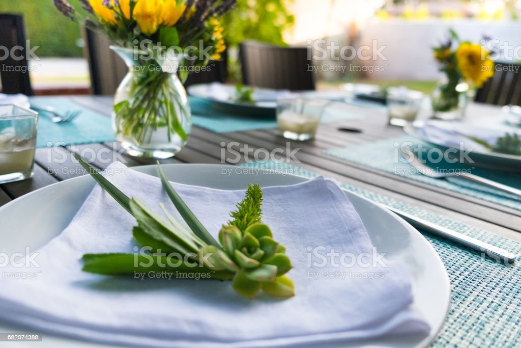 Occasions - Place Setting for Backyard Dinner Party stock photo