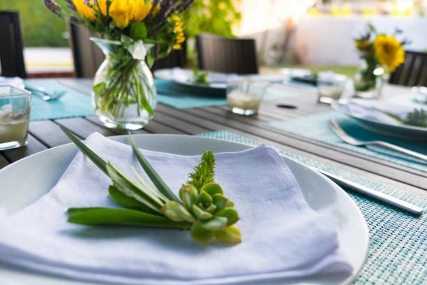 gelegenheiten - gedeck für hinterhof-dinner-party - restaurant inneneinrichtung stock-fotos und bilder