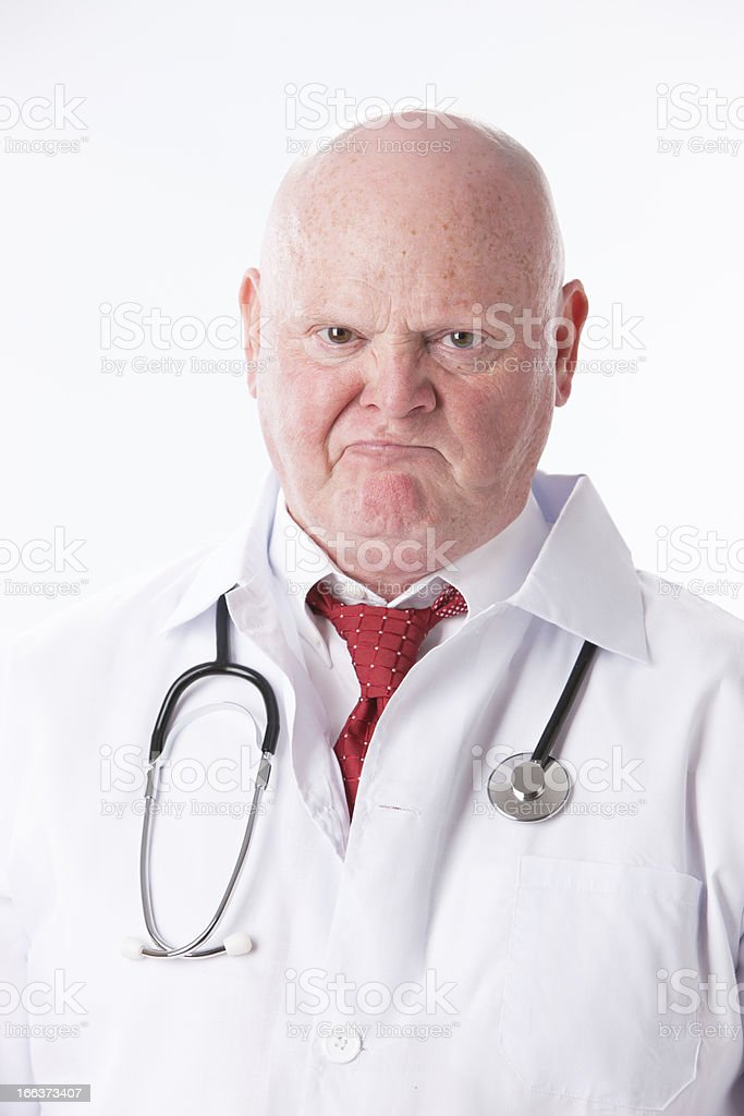 Occupation: Professional Doctor Caucasian Man Job Angry Frowning stock photo