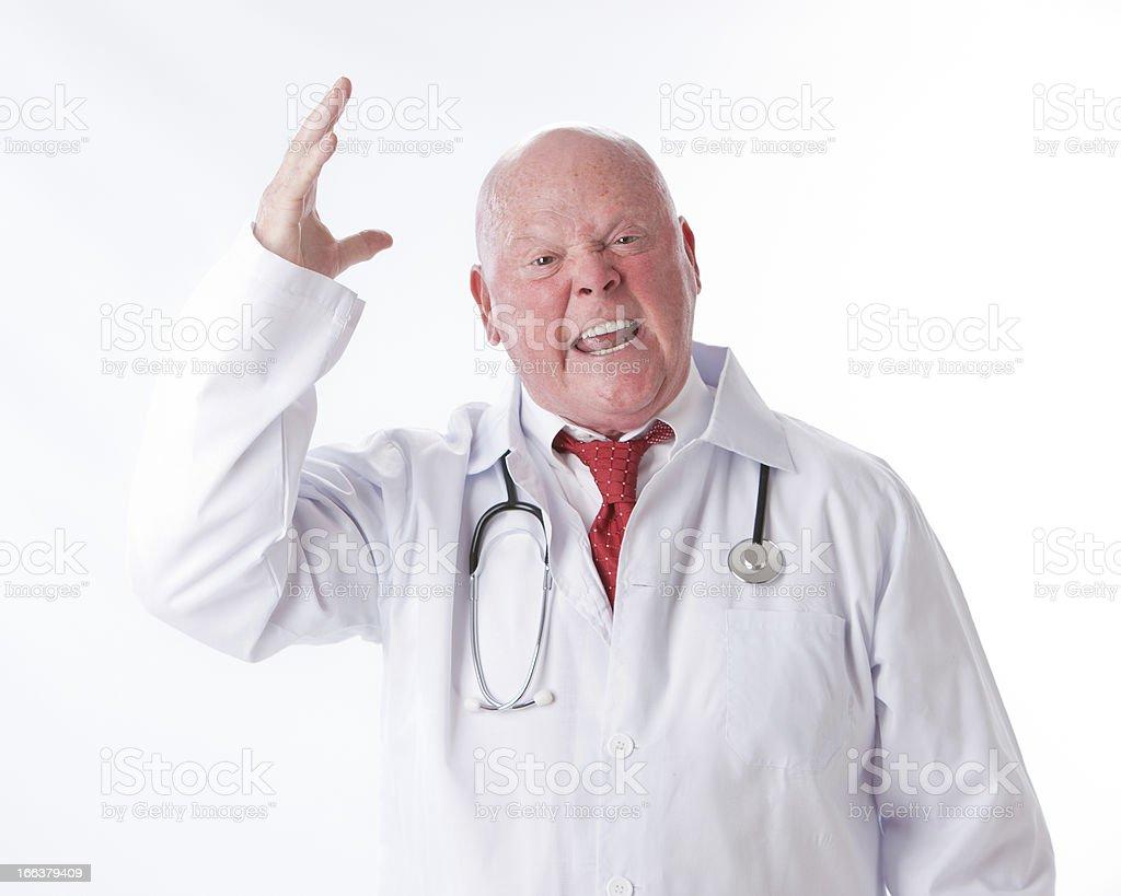Occupation: Yelling Professional Doctor Caucasian Man Job Head Shoulders stock photo