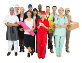 Large group of multi-ethnic people with different occupations standing over white background