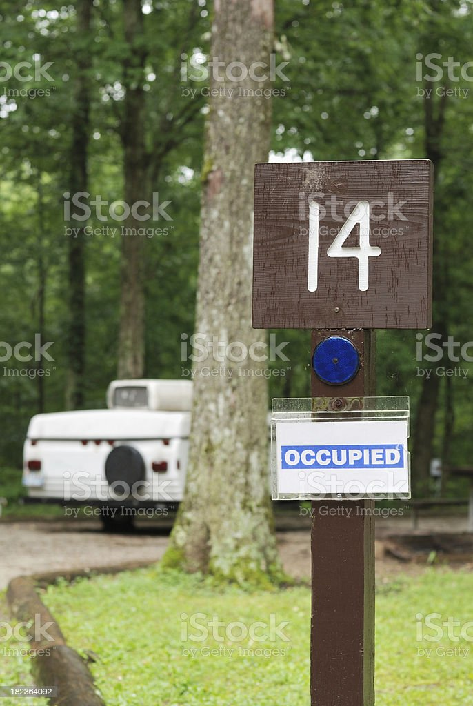 Occupied campsite stock photo