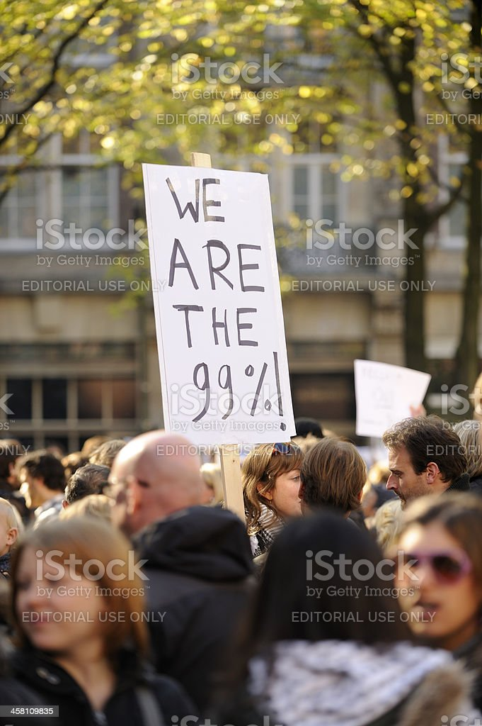 Occupy Amsterdam gathering at Beursplein royalty-free stock photo