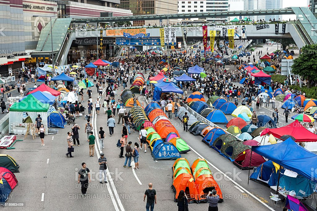 Occupy Central protest movement in Hong Kong royalty-free stock photo