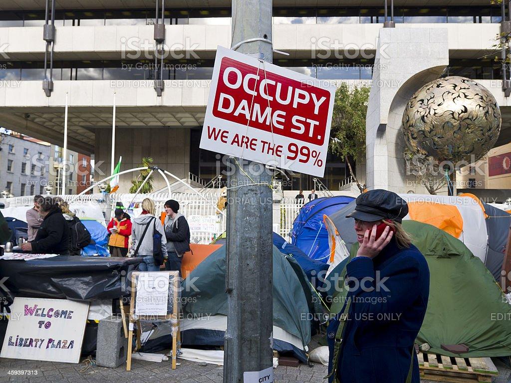 Occupy dame street in Dublin stock photo