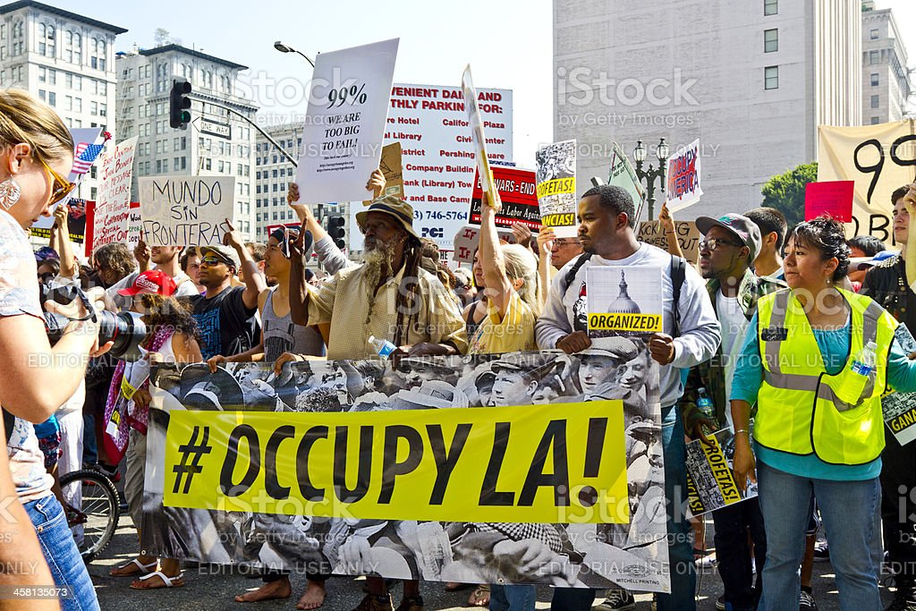 Occupy LA Demonstration and Rally stock photo