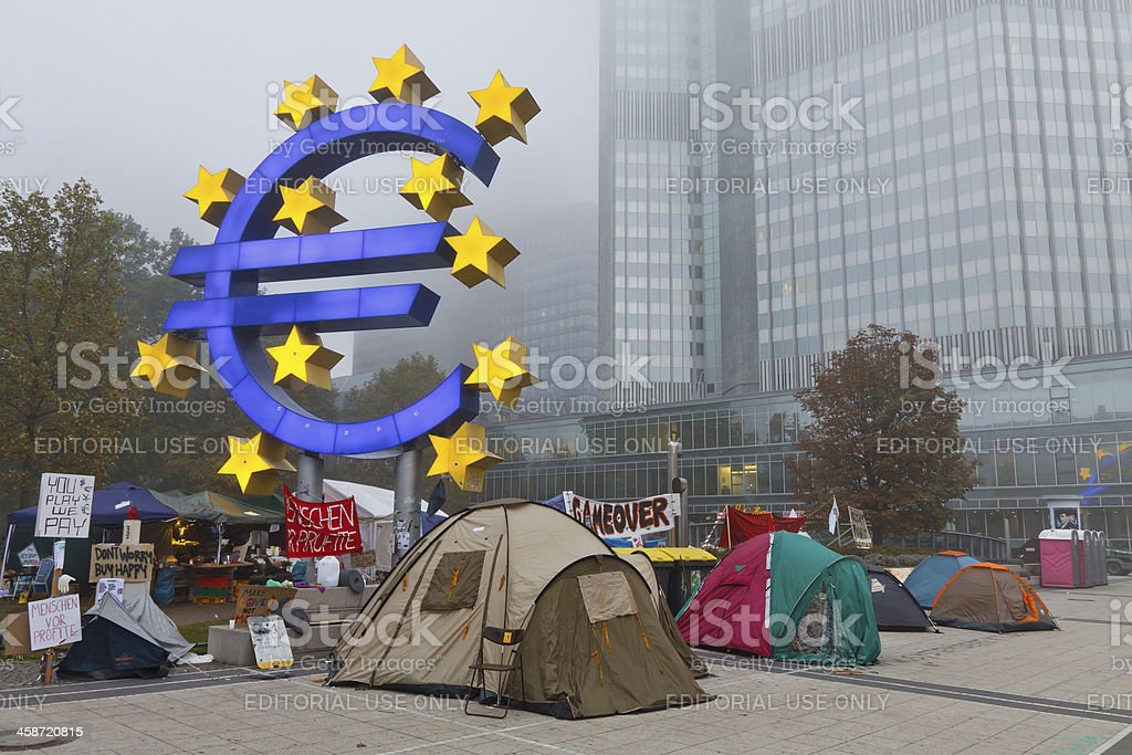 Occupy Frankfurt Protests stock photo