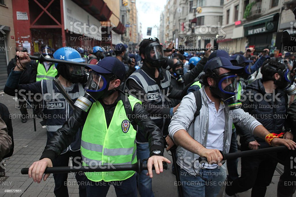 Occupy Gezi Istanbul,Turkey-May 31, 2014: Police use tear gas and water cannons on the tense one year anniversary of the Gezi park protests which sparked wider unrest throughout Turkey on May 31,2014 in Istanbul,Turkey 2013 Protests in Turkey Stock Photo