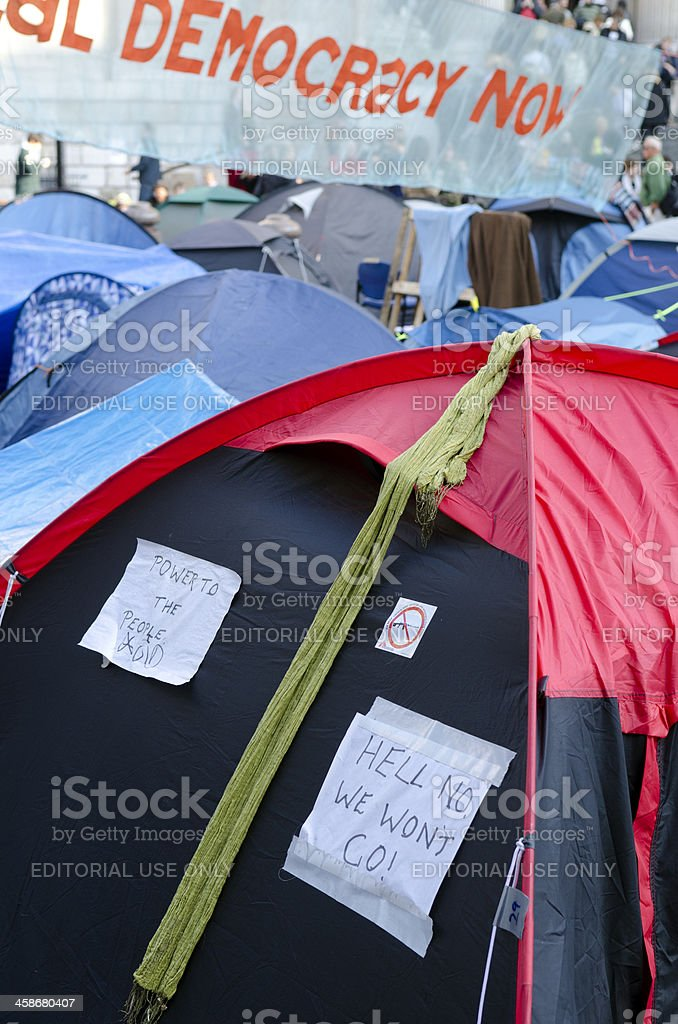 Occupy London protest outside the entrance to St Paul's Cathedral stock photo
