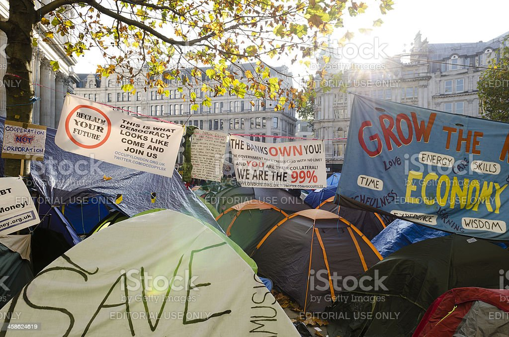 Occupy London protest tents, St Paul's Cathedral stock photo