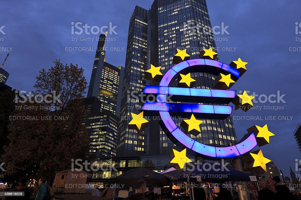 Occupy Movement & European Central Bank at dusk stock photo