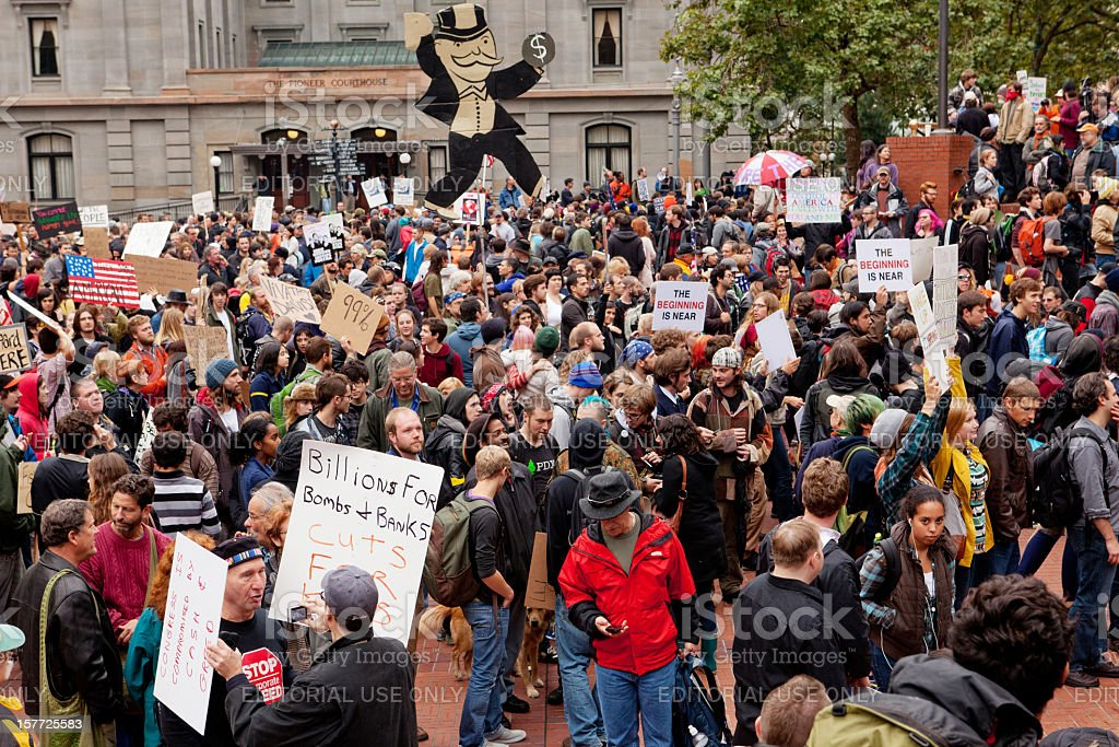 Occupy Portland at Pioneer Square stock photo