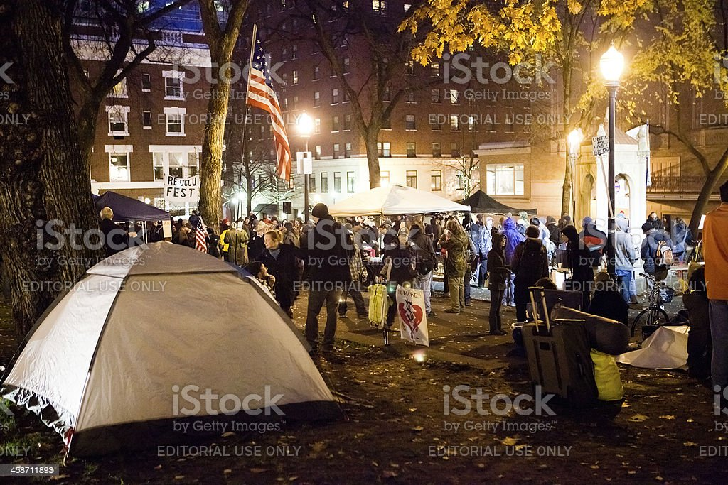 Occupy Portland in the South Park blocks royalty-free stock photo
