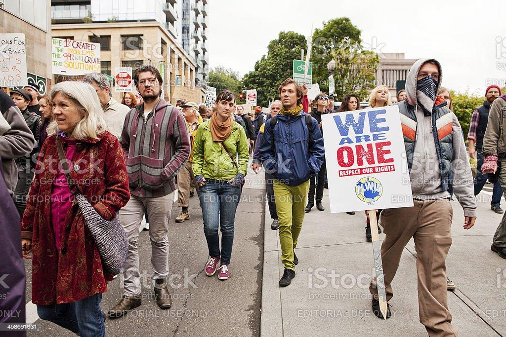 Occupy Portland march stock photo
