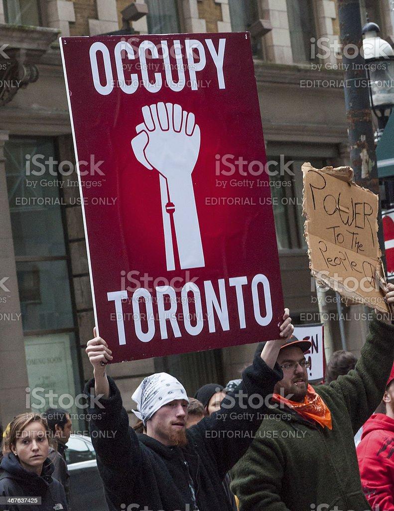 Occupy Toronto Sign stock photo
