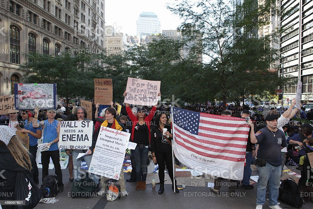 Occupy Wall Street protestors in NYC stock photo