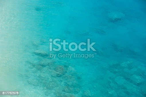 istock Ocean aerial view turquoise blue sea water gradient 817752578
