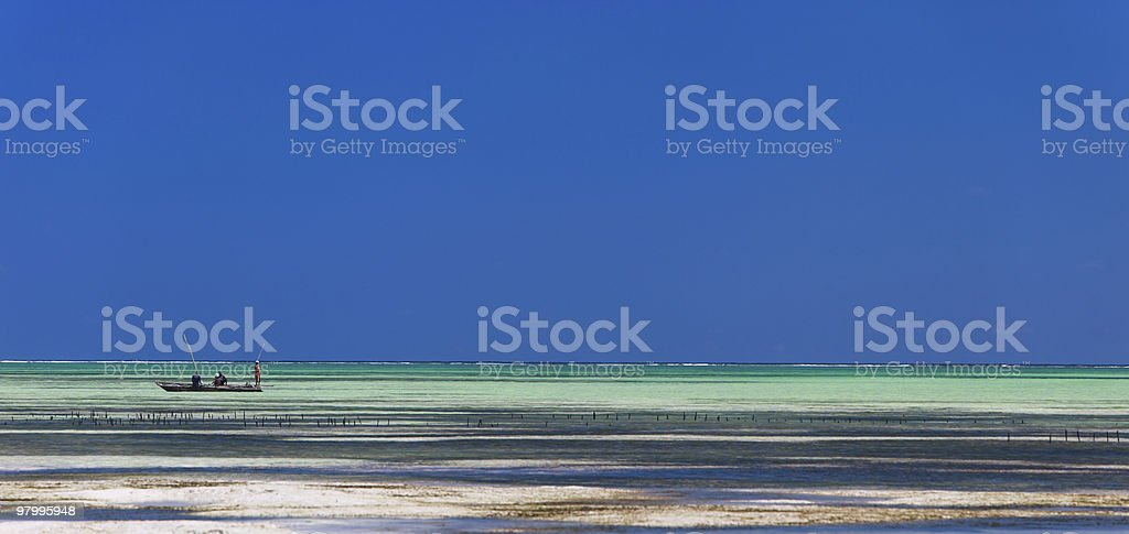 Ocean and boat royalty-free stock photo