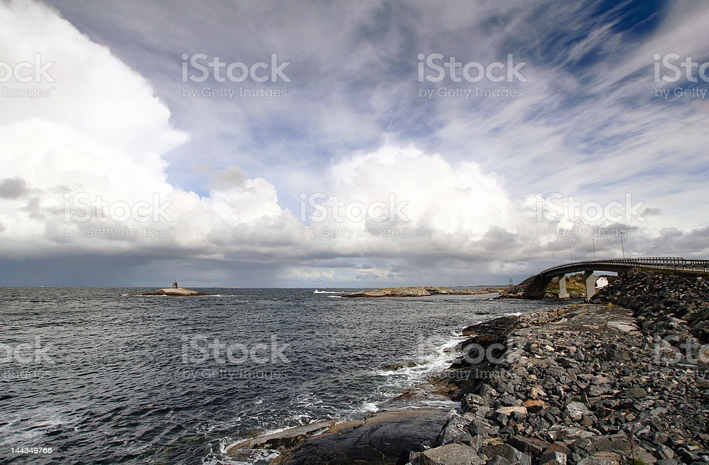 ocean and island with bridge royalty-free stock photo