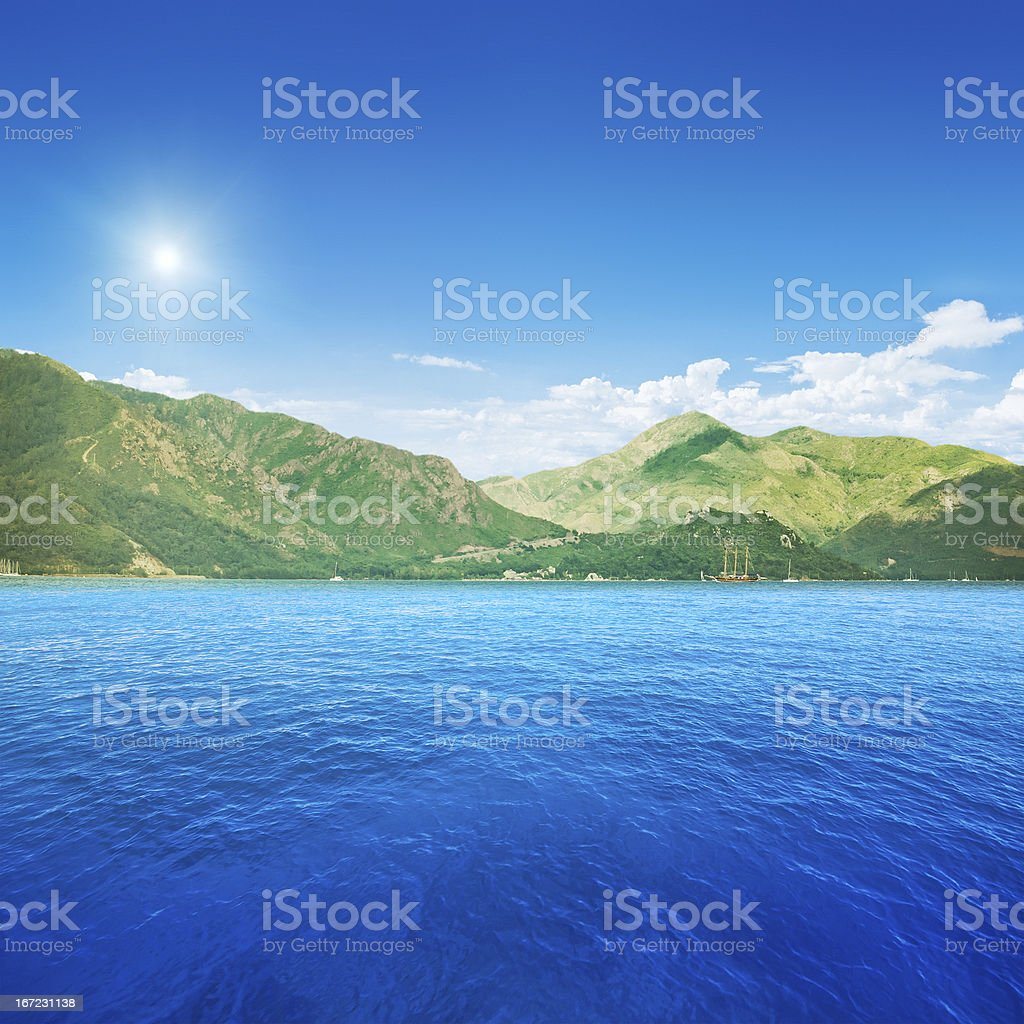 Ocean and mountains royalty-free stock photo