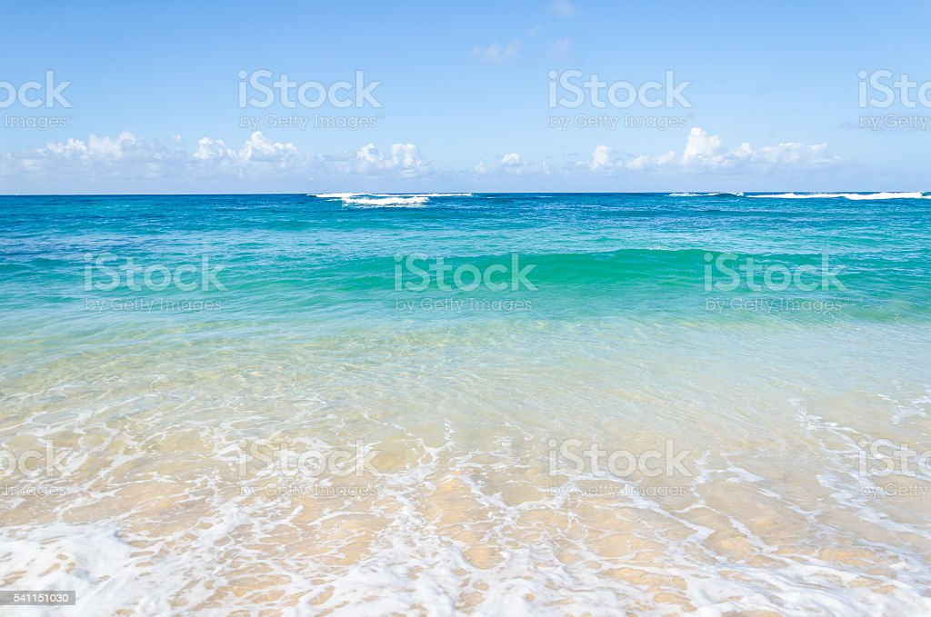 Ocean and tropical sandy beach background stock photo