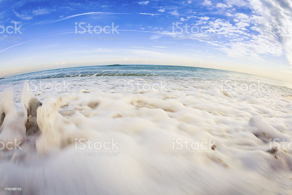 Ocean and Waves at Sunrise royalty-free stock photo