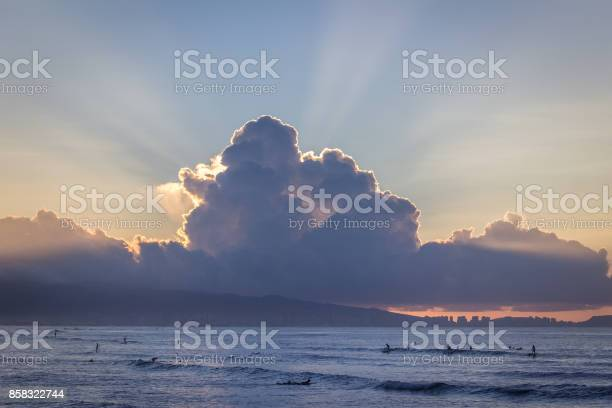 Photo of Ocean at Cloudy Sunset