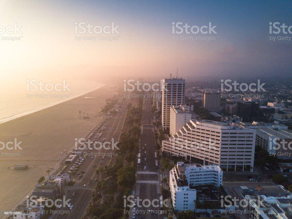Ocean Avenue and the Pacific Coast Highway in Santa Monica, California - Aerial Panorama stock photo