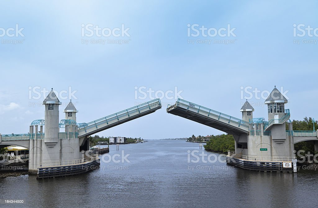 Ocean Avenue Drawbridge over Intercoastal Waterway Opening stock photo
