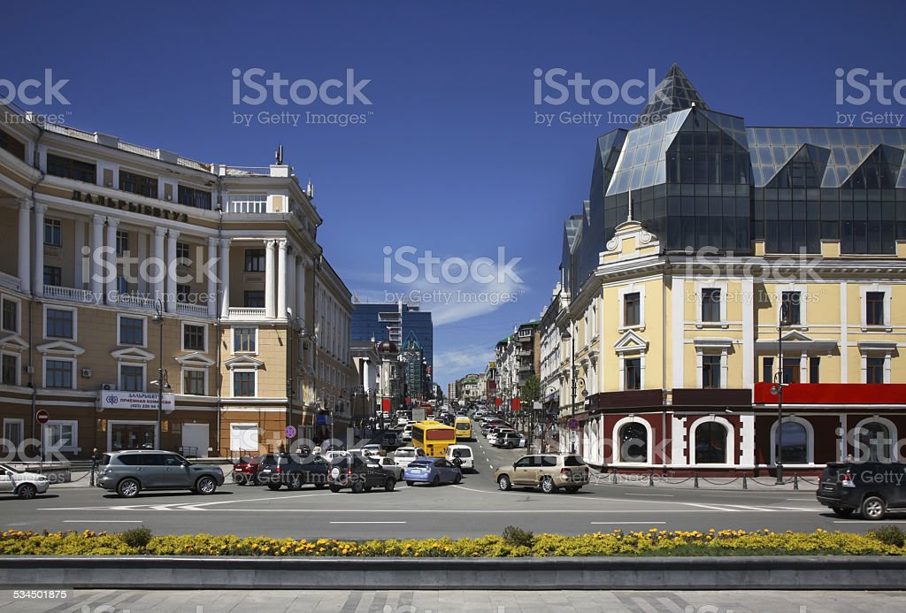 Ocean avenue in Vladivostok. Russia stock photo