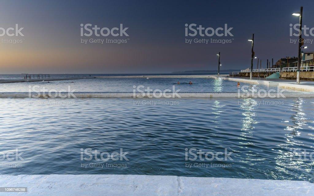 Ocean Baths at Sunrise stock photo