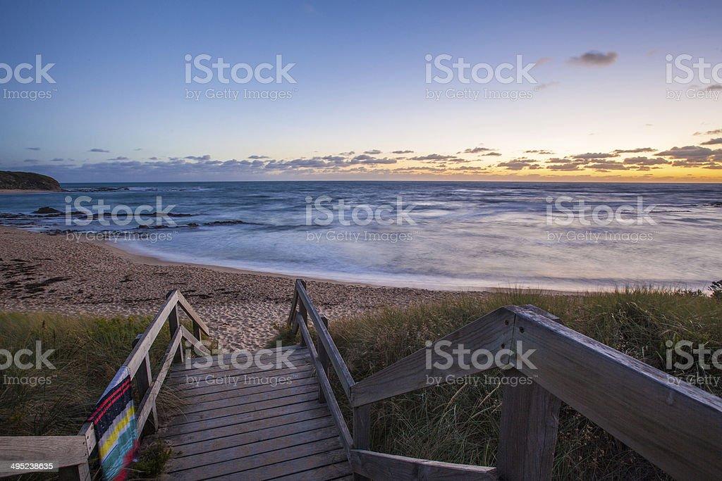Ocean beach at dusk. Nature landscape stock photo