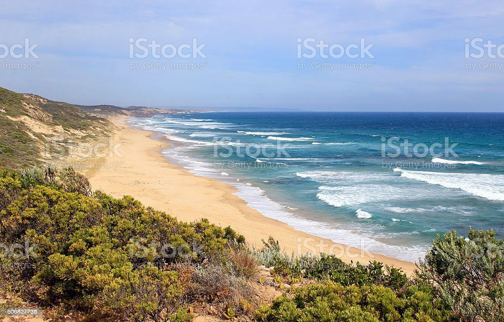 Ocean beach at Portsea, Victoria, Australia stock photo