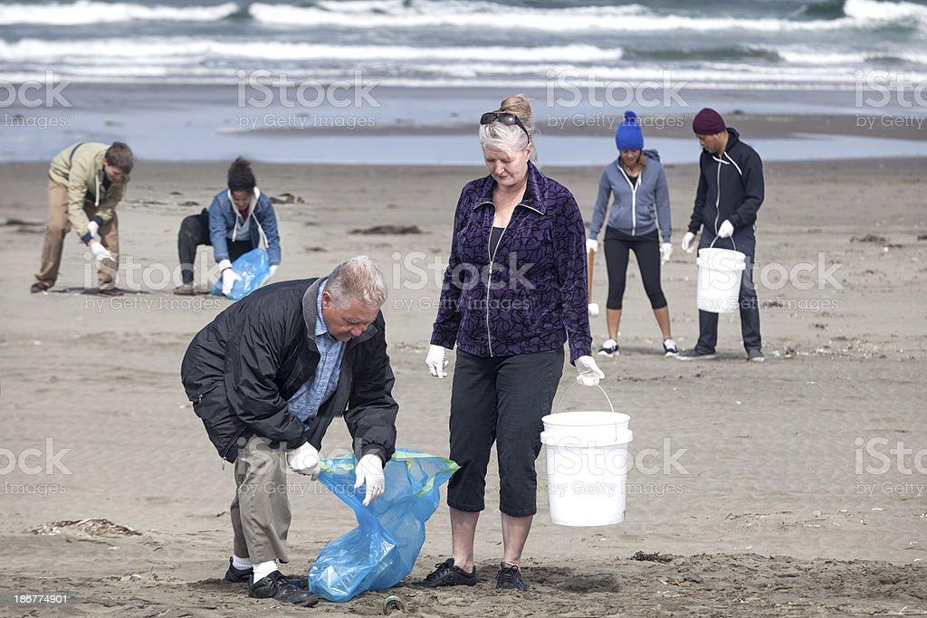 Ocean Beach Cleanup stock photo
