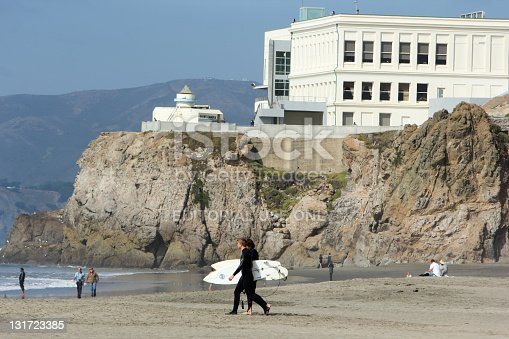 San Francisco, United States - October 7, 2011: Surfers walk towards the Pacific at Ocean Beach, in front of Cliff House, in California. The beach has not recorded any shark attacks, despite the fact it is near a seal colony and sharks are sighted just off shore by surfers fairly regularly.