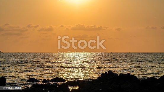 Ocean beach in the sunset.
