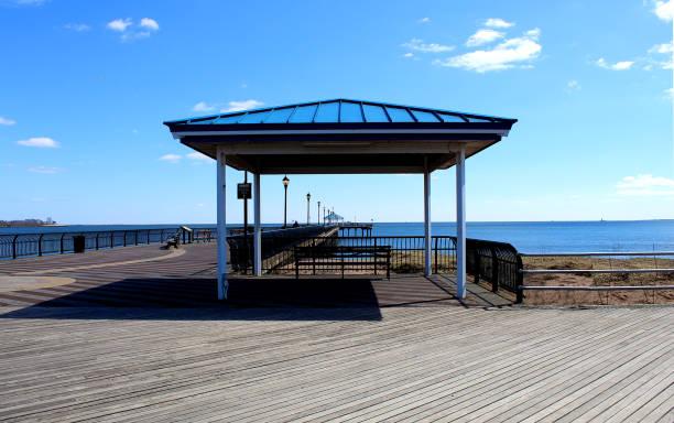 Ocean Breeze Fishing Pier. Staten island New York stock photo