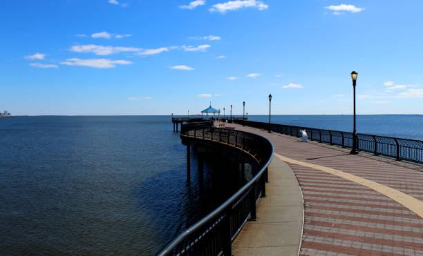 Ocean Breeze Fishing Pier Staten Island New York stock photo