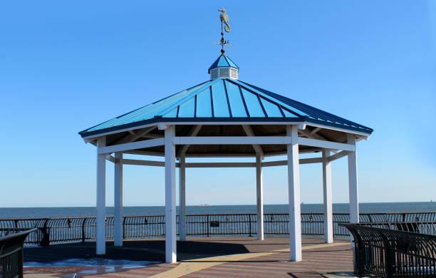 Ocean Breeze Fishing Pier. Staten Island. New York stock photo