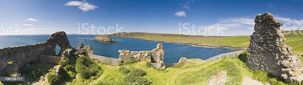 Ocean castle ruins Hebrides island Highland panorama Duntulm Skye Scotland royalty-free stock photo