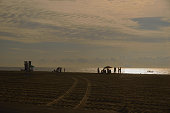 Early morning families gather on the beach in Ocean City, Maryland to stake out there territory before the influx of new tourist begins and they won't be able to maintain the social distancing required while a fisherman floats in his boat just offshore