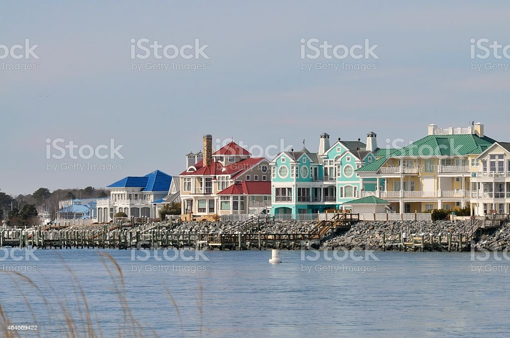 Ocean City Inlet Waterfront Homes stock photo