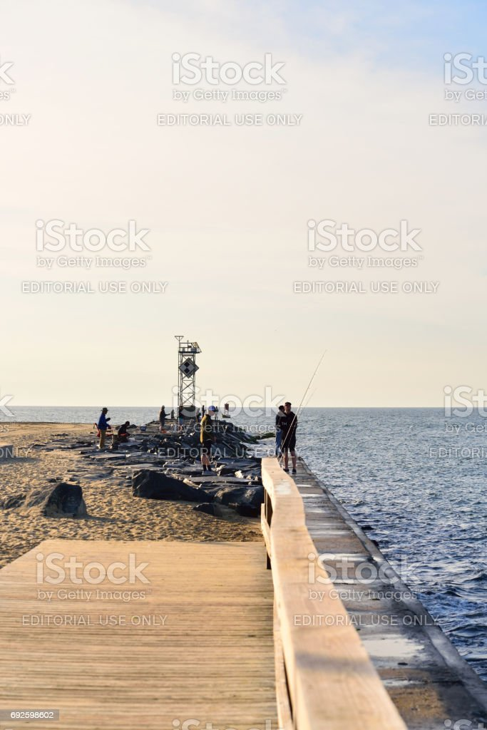 Ocean City Jetty Morning Fishermen stock photo