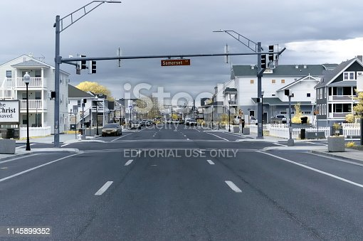 Philadelphia street in Ocean City, maryland on an overcast spring morning shot using an IR camera that renders images with a bit of a retro appearance and softens the architecture