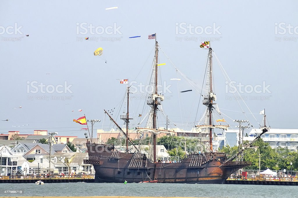 Ocean City Tall Ship And Parasailer royalty-free stock photo
