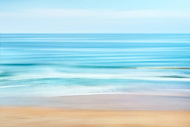 Ocean Coast A tranquil seascape of the Pacific ocean off the coast of California.  Image features blurred water movement captured with a long exposure. santa barbara california stock pictures, royalty-free photos & images